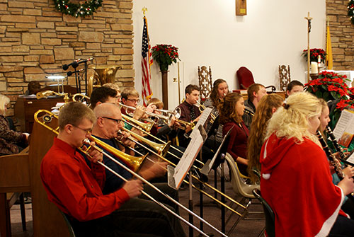 A view of the band performing before Mass