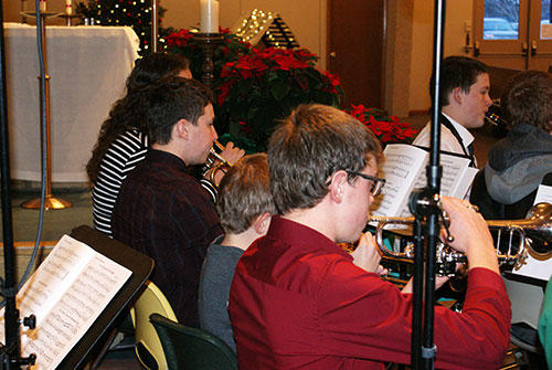 The brass section of the Christmas band