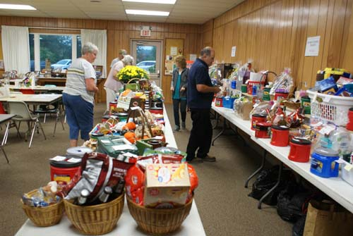 tables full of baskets for the raffle at Good Shepherd fall fest