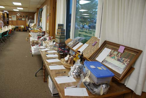 tables and tables full of silent auction items at Good Shepherd fall fest