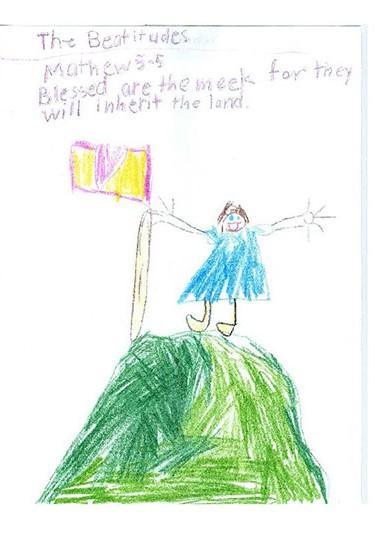 4th grade illustration of Gospel of St. Matthew chapter 5, verse 5