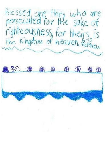 4th grade illustration of Gospel of St. Matthew chapter 5, verse 10