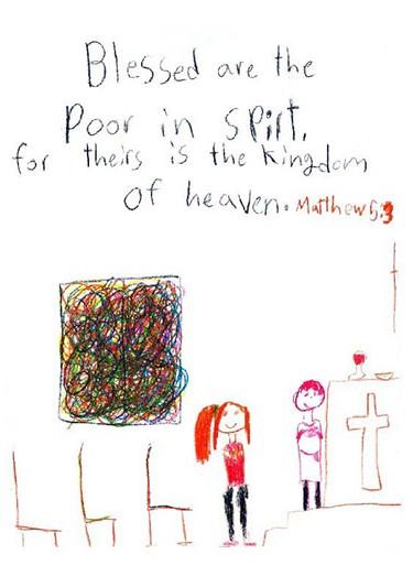 4th grade illustration of Gospel of St. Matthew chapter 5, verse 3