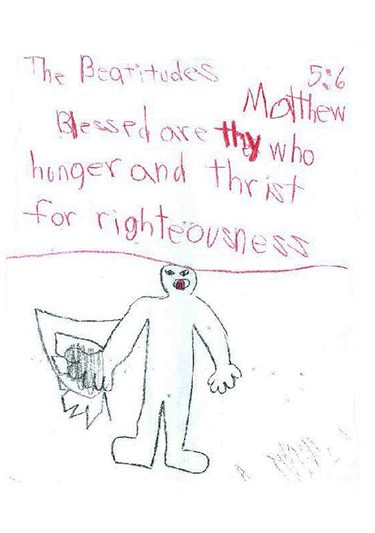 4th grade illustration of Gospel of St. Matthew chapter 5, verse 6