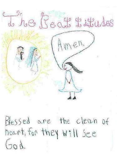 4th grade illustration of Gospel of St. Matthew chapter 5, verse 8