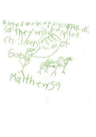4th grade illustration of Gospel of St. Matthew chapter 5, verse 9