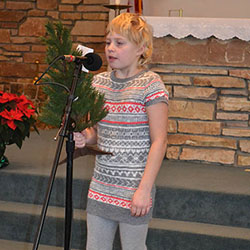 Christmas pageant girl with Christmas tree image