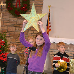 Christmas pageant girl with star image