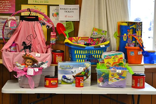 table of raffle baskets for kids