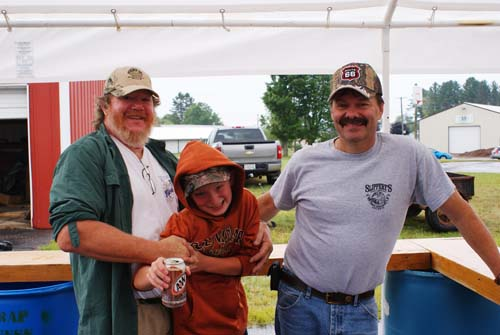 Dave and Aaron and Dan having fun in the beverage stand at Good Shepherd fall fest