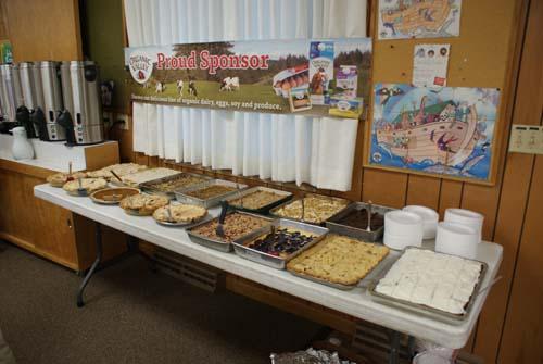A table full of baked good for Good Shepherd fall fest dinner