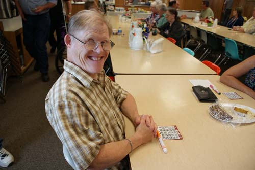Brian is ready to play bingo at Good Shepherd fall fest