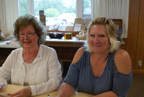 Teri and Pat play bingo at Good Shepherd fall fest