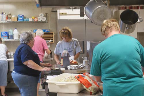 Pearl-Debbie-Peggy-Lou Ann working in the kitchen at Good Shepherd fall fest