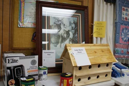 air fryer, large framed photo and purple martin bird house for Good Shepherd fall fest raffle
