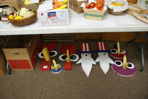 Wooden outdoor decorations for silent auction at Good Shepherd fall fest