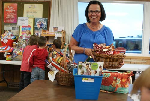 Barb wins big at the Good Shepherd fall fest basket raffle