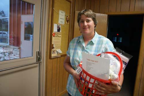 Karen is winner of basket at Good Shepherd fall fest